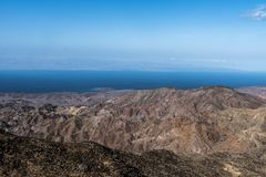 Djibouti coast. View of the Gulf of Tadjoura and coastal landscape taken from Arta, Djibouti in Africa royalty free stock images