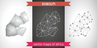 Djibouti collection of vector design modern maps, gray and black and silver dot contour mosaic 3d map. Set of Djibouti polygonal mosaic modern maps Stock Images