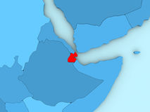 Djibouti on 3D map Royalty Free Stock Image