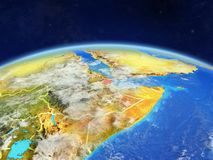 Djibouti on Earth from space. Djibouti on planet Earth with country borders and highly detailed planet surface and clouds. 3D illustration. Elements of this stock photo