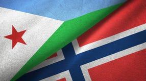 Djibouti en Noorwegen twee vlaggen textieldoek, stoffentextuur vector illustratie
