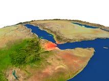 Djibouti en rojo de la órbita stock de ilustración