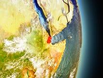 Djibouti en rouge de l'espace Photographie stock