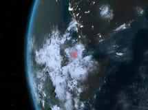 Djibouti en rouge la nuit illustration stock