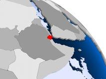 Djibouti en rouge sur la carte illustration libre de droits