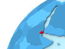 Djibouti en rouge sur le globe bleu Images libres de droits