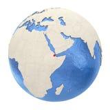 Djibouti en rouge sur le plein globe d'isolement sur le blanc Image stock