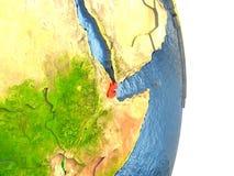 Djibouti en rouge sur terre Photographie stock