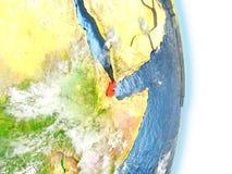 Djibouti en rouge sur terre Images libres de droits