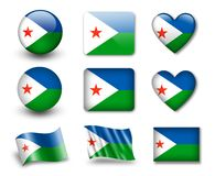 The Djibouti flag. Set of icons and flags. glossy and matte on a white background Royalty Free Stock Photography