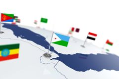 Djibouti flag. Country flag with chrome flagpole on the world map with neighbors countries borders. 3d illustration rendering flag Stock Images
