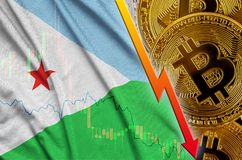 Djibouti flag and cryptocurrency falling trend with many golden bitcoins. Concept of reduction Bitcoin in price or bad conversion in cryptocurrency mining royalty free stock photo