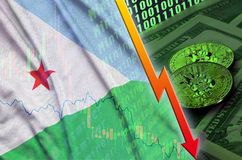 Djibouti flag and cryptocurrency falling trend with two bitcoins on dollar bills and binary code display. Concept of reduction Bitcoin in price and bad royalty free stock photography