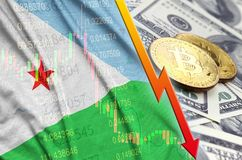 Djibouti flag and cryptocurrency falling trend with two bitcoins on dollar bills. Concept of depreciation Bitcoin in price against the dollar stock photo