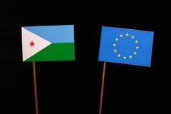 Djibouti flag with European Union EU flag isolated on black. Background Stock Image