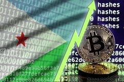 Djibouti flag and rising green arrow on bitcoin mining screen and two physical golden bitcoins. Concept of high conversion in cryptocurrency mining royalty free stock photo