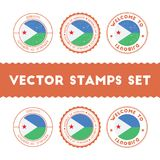 Djibouti flag rubber stamps set. National flags grunge stamps. Country round badges collection Stock Photos
