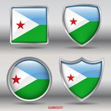 Djibouti Flag in 4 shapes collection with clipping path royalty free stock photo