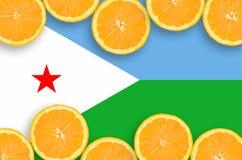 Djibouti flagga i citrusfruktskivahorisontalram royaltyfria foton
