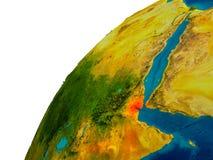 Djibouti on globe Royalty Free Stock Image