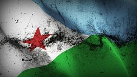 Djibouti grunge dirty flag waving on wind. Djiboutian background fullscreen grease flag blowing on wind. Realistic filth fabric texture on windy day Stock Photos