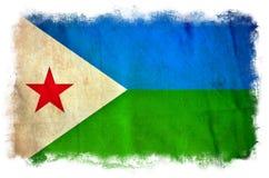 Djibouti grungeflagga royaltyfri illustrationer