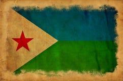 Djibouti grungeflagga stock illustrationer