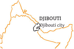 Djibouti hand-drawn sketch map Stock Images