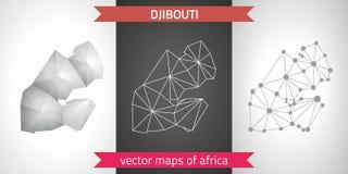 Djibouti kolekcja wektorowego projekta map, szarej, czarnej i srebnej kropka konturu mozaiki 3d mapa nowożytna, Obrazy Stock