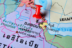 Djibouti map. Macro shot of djibouti map with push pin royalty free stock image