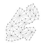 Djibouti map of polygonal mosaic lines network, rays, dots  illustration. Stock Photos