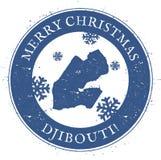Djibouti map. Vintage Merry Christmas Djibouti. Stock Images