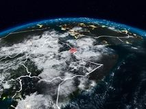 Djibouti at night. Djibouti from space at night on Earth with visible country borders. 3D illustration. Elements of this image furnished by NASA stock images