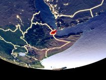 Djibouti at night from space. Satellite view of Djibouti from space at night. Beautifully detailed plastic planet surface with visible city lights. 3D royalty free stock photography