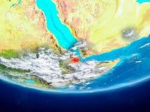 Djibouti på jordklotet från utrymme Fotografering för Bildbyråer
