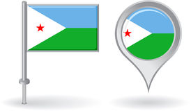 Djibouti pin icon and map pointer flag. Vector Royalty Free Stock Image