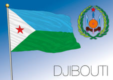 Djibouti Republic flag and coat of arms Royalty Free Stock Image