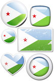 Djibouti - Set of stickers and buttons. Glossy and colorful stickers with reflection set Royalty Free Stock Image