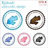 Djibouti st?mpel stock illustrationer