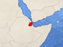 Djibouti sur la carte Photo stock