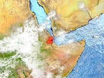 Djibouti sur la carte avec des nuages Images stock