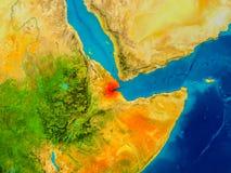 Djibouti sur la carte physique Photo libre de droits