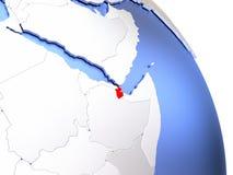 Djibouti sur le globe élégant Photographie stock