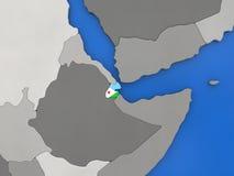Djibouti sur le globe Photos libres de droits