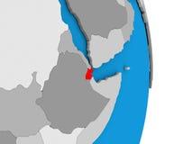 Djibouti sur le globe Photographie stock
