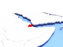 Djibouti sur le globe Images libres de droits