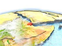 Djibouti sur le globe Images stock