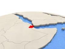 Djibouti sur le globe avec les mers aqueuses Photos stock