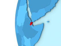 Djibouti sur le globe bleu Photos stock