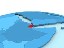 Djibouti sur le globe bleu Photos libres de droits